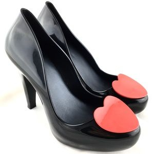 Melissa Raspberry Heart high heel jelly pump black